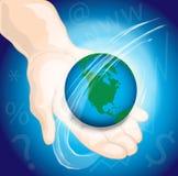 Hand die de wereld houdt Stock Afbeeldingen