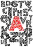 Hand, die dekoratives Alphabet zeichnet Stockbilder