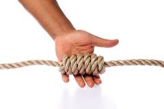 Hand, die den Knoten getrennt auf Weiß zeigt Stockfotografie