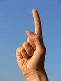 Hand, die den Zeigefinger zeigt Stockfoto