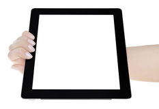 Hand, die Digital-Tablet des leeren Bildschirms hält Stockfoto