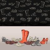 Hand die diverse types van verschillend schoeisel in vector trekken Stock Afbeelding