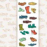 Hand die diverse types van verschillend schoeisel in vector trekken Royalty-vrije Stock Foto