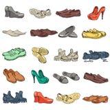 Hand die diverse types van verschillend schoeisel in vector trekken Stock Fotografie