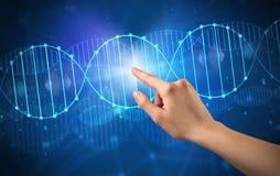 Hand, die DNA-Molekül berührt Lizenzfreies Stockfoto
