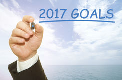 Hand die 2017 doelstellingen schrijven Royalty-vrije Stock Foto's