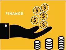 Hand, die Dollar-Münzen wirft lizenzfreie abbildung