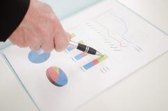Hand die een bedrijfsgrafiek tonen Stock Afbeelding