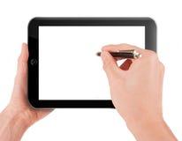Hand die een computer van tabletpc houden Stock Foto's