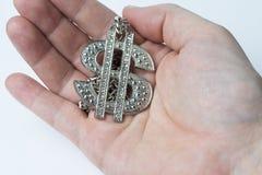 Hand die een dollarteken houden Stock Foto's
