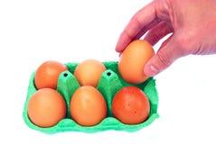 Hand die een ei van doos van zes geïsoleerdei eieren neemt Royalty-vrije Stock Foto