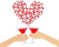 Hand die een glas wijn houden Stock Foto's