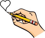 Hand die een hart met potlood trekt vector illustratie