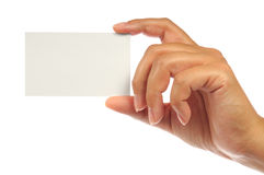 Hand die een leeg adreskaartje houdt Stock Foto's