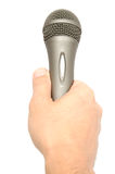 Hand die een Microfoon houdt Stock Foto's
