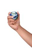 Hand die een miniatuurAarde houdt Royalty-vrije Stock Afbeelding