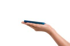 Hand die een mobiele telefoon houdt Stock Fotografie