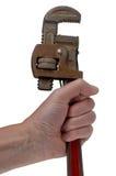 Hand die een moersleutel houdt Royalty-vrije Stock Fotografie