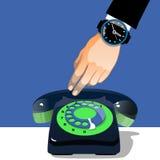 Hand die een oude zwarte en groene telefoon houden Retro illustratie Stock Foto