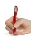 Hand die een pen houdt Stock Afbeelding