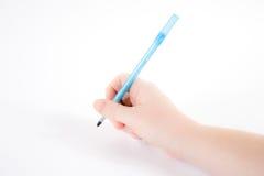Hand die een pen houdt Stock Foto