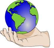 Hand die een planeet houdt Stock Foto
