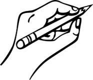 Hand die een potlood houdt Stock Foto