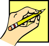 Hand die een potlood houdt stock illustratie