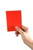 Hand die een rode kaart houdt stock afbeeldingen