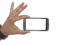 Hand die een Slimme Telefoon houden Royalty-vrije Stock Foto