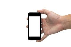 Hand die een slimme Telefoon met het lege die scherm houden op wit 1 wordt geïsoleerd Stock Fotografie