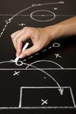 Hand die een strategie van het voetbalspel trekt royalty-vrije stock afbeeldingen