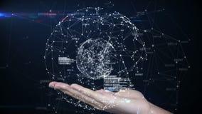 Hand die een technologie-ontwerp voorstellen royalty-vrije illustratie