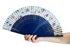 Hand die een ventilator houdt Stock Fotografie