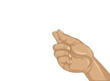 Hand die een vinger houden onzichtbaar iets Lege ruimte voor uw advertentie stock illustratie