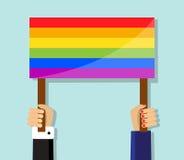 Hand die een vrolijke trotsvlag houden vector illustratie