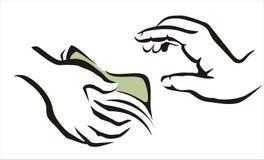 Hand, die ein Geldsymbol gibt Stockfoto