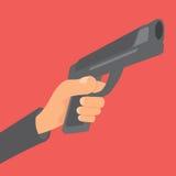 Hand, die ein Gewehr und ein Zielen hält Lizenzfreies Stockfoto