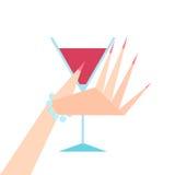 Hand, die ein Glas Rotwein anhält Stockbilder