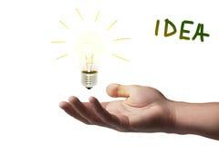 Hand, die ein Licht hält Lizenzfreies Stockbild
