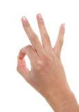 Hand, die EIN-OKAYzeichen bildet Stockbilder