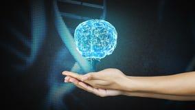Hand, die ein spinnendes Gehirn darstellt stock video