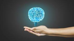 Hand, die ein spinnendes Gehirn darstellt stock video footage