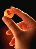 Hand, die ein Stück chinesisches Schach hält Lizenzfreie Stockfotos