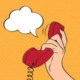 Hand, die ein Telefon, Pop-Arten-Illustration hält lizenzfreie abbildung