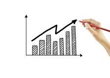 Hand, die ein Wachstumsdiagramm zeichnet Stockbild