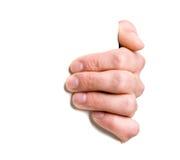 Hand, die ein Zeichen anhält Stockfotos