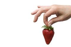 Hand, die eine Erdbeere anhält Lizenzfreies Stockfoto
