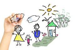 Hand, die eine glückliche Familie zeichnet Lizenzfreie Stockfotografie