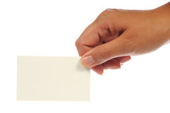 Hand, die eine leere Visitenkarte anhält Lizenzfreies Stockbild